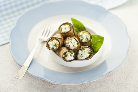 antipasti: Tasty eggplant rolls stuffed with cottage cheese