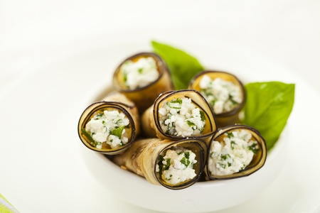 Tasty eggplant rolls stuffed with cottage cheese Stock Photo - 14953883