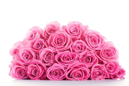 Big bunch of pink roses isolated on white background Stock Photo - 14953874
