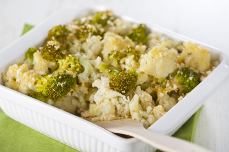 Broccoli and cauliflower gratin in white casserole  Stock Photo - 17925527