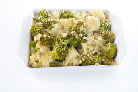 Broccoli and cauliflower gratin in white casserole  Stock Photo - 17925509