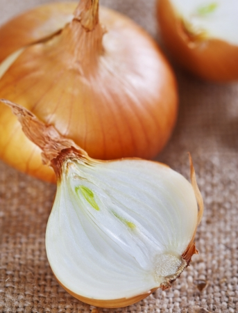 Fresh raw onions on rustic background Stock Photo - 17925507