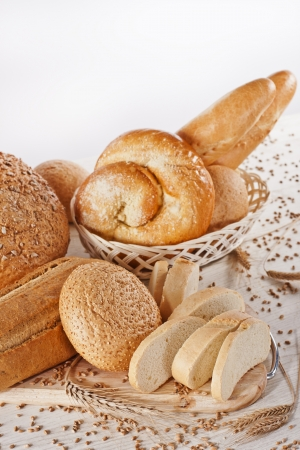 Assortment of baked bread on white background Stock Photo - 17925518