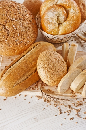 Assortment of baked bread on white background Stock Photo - 17925522