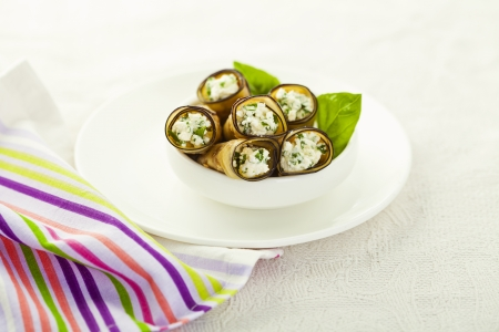 Healthy eggplant rolls stuffed with cheese Stock Photo - 18151050