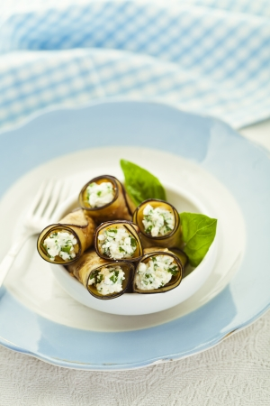 Healthy eggplant rolls stuffed with cheese Stock Photo - 18151062