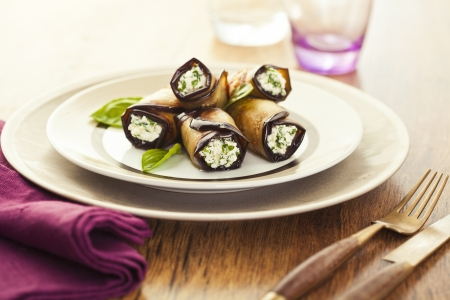 Healthy eggplant rolls stuffed with cheese Stock Photo - 18151054