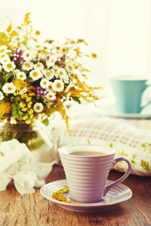 Morning tea and bright wild flowers Stock Photo - 18151072