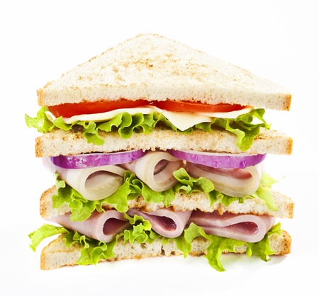 Big club sandwich with ham and vegetables Stock Photo - 18372113