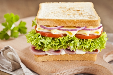 Tasty ham sandwich with cheese, tomatoes, onions and lettuce  photo