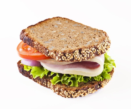 Healthy whole grain bread sandwich with ham Stock Photo - 18372114