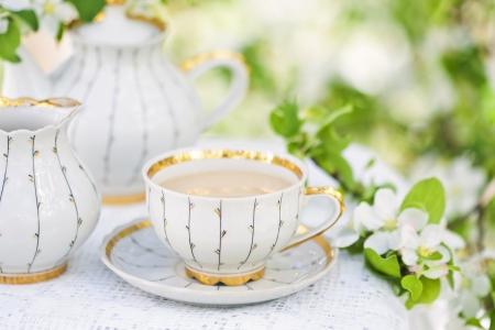 wei�er tee: Englisch Tee im Fr�hjahr Garten