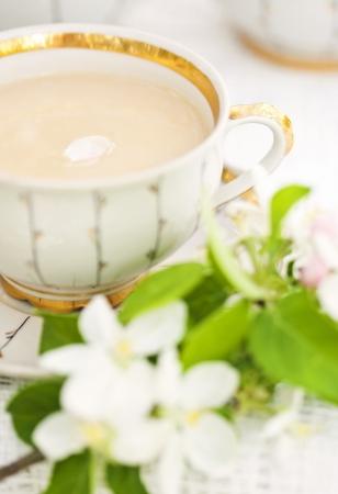 English tea in spring garden photo