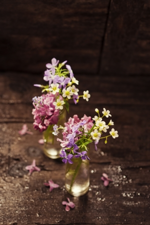 Bouquet of spring flowers on wooden background Stock Photo - 19009084
