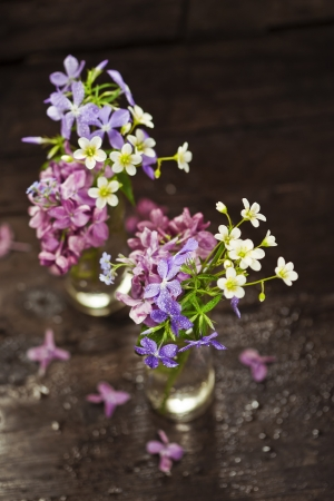 Bouquet of spring flowers on wooden background Stock Photo - 19009139