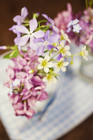 Bouquet of spring flowers on wooden background Stock Photo - 19009042