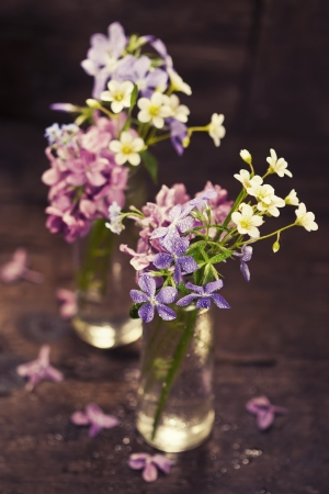 Bouquet of spring flowers on wooden background Stock Photo - 19009142