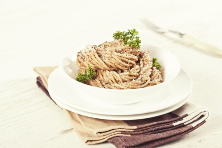 Bowl of pasta with walnut pesto Stock Photo - 19009147