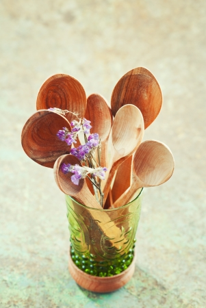 old items: Still life of wooden cooking utensils