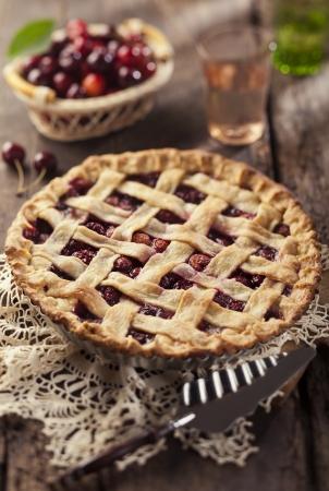 Cherry pie with lattice crust. Stock Photo - 21085786