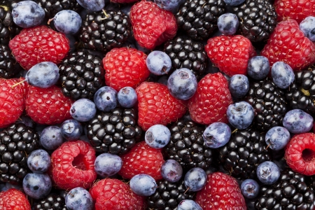 Raspberry, blackberry and blueberry background Stock Photo