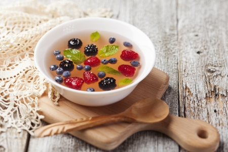 Fruit soup with raspberry, blueberry, blackberry and mint Stock Photo - 21702827