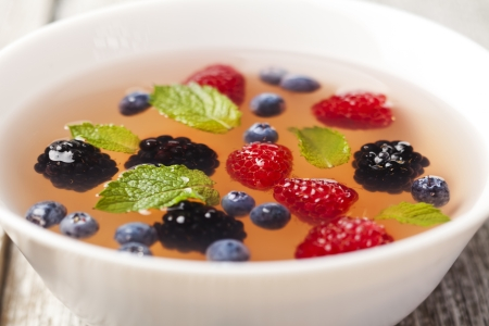 Fruit soup with raspberry, blueberry, blackberry and mint Stock Photo - 21702828