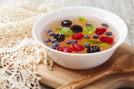 Fruit soup with raspberry, blueberry, blackberry and mint Stock Photo - 21702829