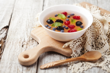 Fruit soup with raspberry, blueberry, blackberry and mint Stock Photo - 21702830