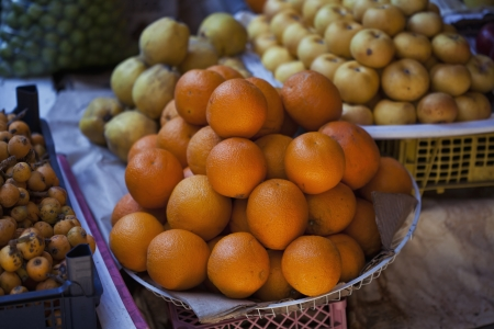 Fresh organic oranges at market photo