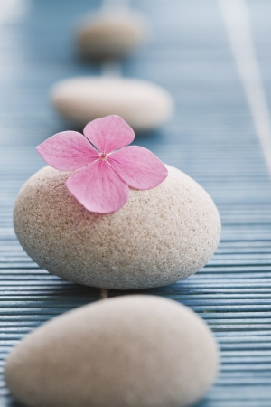 Zen stones and pink flowers on blue bamboo mat photo