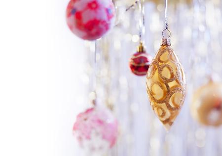 hristmas: Сhristmas balls hanging on silver background