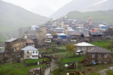 svan: Village Ushguli in Upper Svaneti in Georgia, Caucasus mountains, the highest inhabited village in Europe
