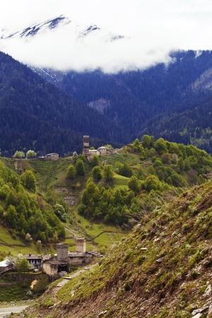 ushguli: Village Ushguli in Upper Svaneti in Georgia, Caucasus mountains, the highest inhabited village in Europe