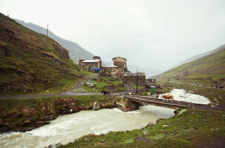 Village Ushguli in Upper Svaneti in Georgia, Caucasus mountains, the highest inhabited village in Europe photo