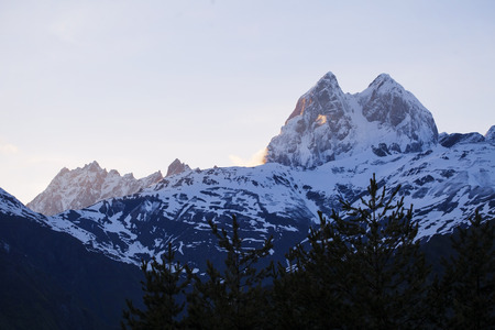 Mountain Ushba in Svaneti, Georgia in the evening photo