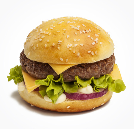 Tasty burger with cheese, red onion and lettuce photo