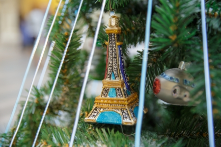 Christamas tree decoration in french style with eifel tower Stock Photo
