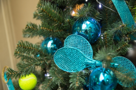 Christamas tree decoration with tennis rackets and ball Stock Photo