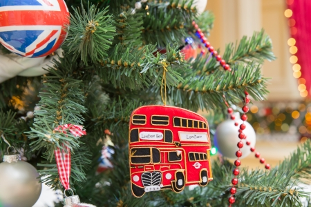 a Christmas tree decoration with british symbols