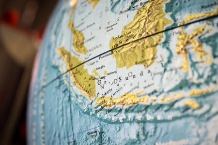 アジア世界グローブの一部の地図