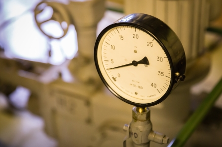 pascal: Close-up of a pressure gauge instrument Stock Photo