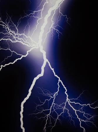electrifying: Lightning extends horizontally across a black background