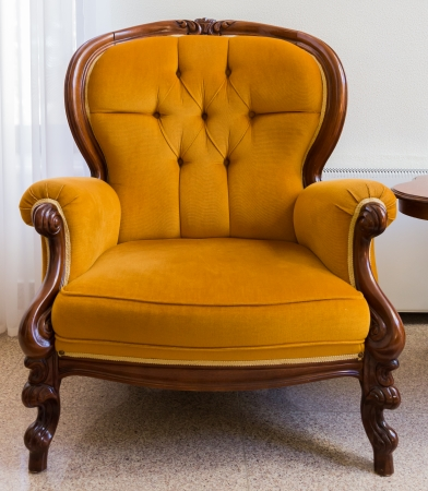Antique Orange Armchair Isolated On White Background Stock Photo   24446732