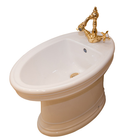 Beautiful bidet with dold tap in luxurious bathroom photo