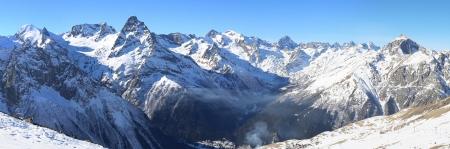 Panorama of winter mountains in Caucasus region, Dombai, Russia Stock Photo