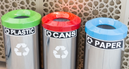 seperation: three bins for garbage seperation, plastic, cans, paper