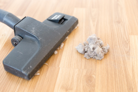 brooming: vacuum cleaner and dust on a wooden floor