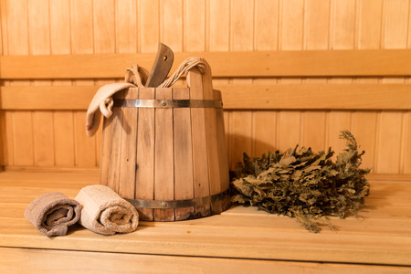 Inside view of traditional sauna with some equipment Stock Photo
