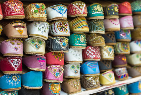 souq: beautiful shoes selling on a middle east market